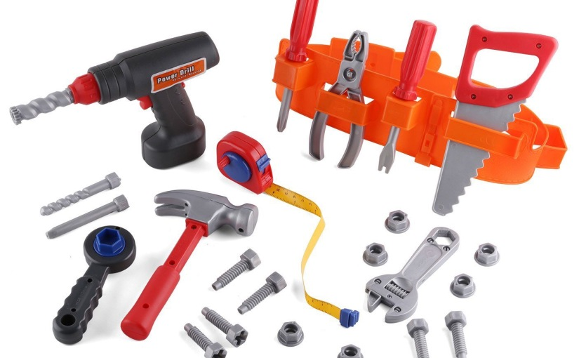 Click n' Play 23 piece Toy Tool Set Includes Powered Drill, Hammer, Saw, Tape Measure, Tool Belt REVIEW #pretendtoolset23