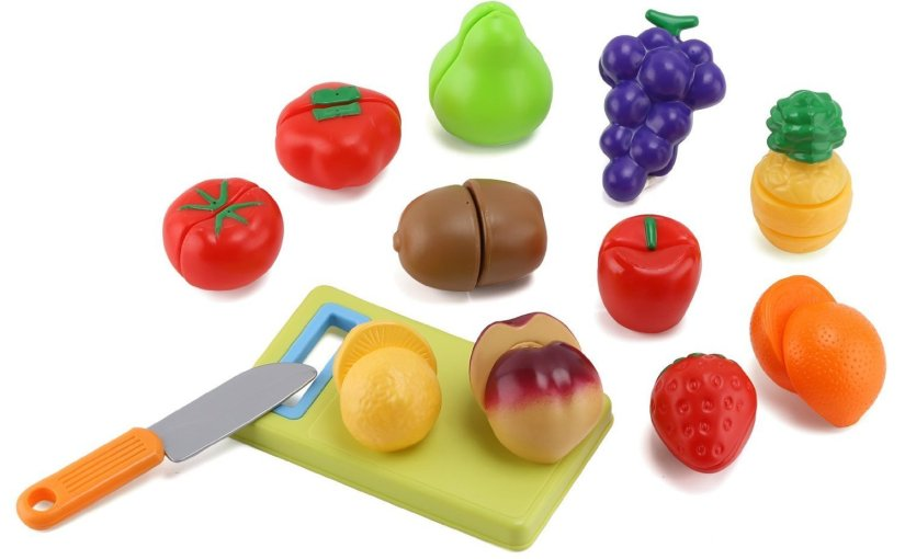 Review Click n' Play 12 pc Kids Pretend Play Cutting Fruit Toy Set