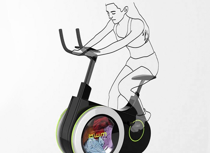 Exercise machine doubles as a washing machine. What do youthink?