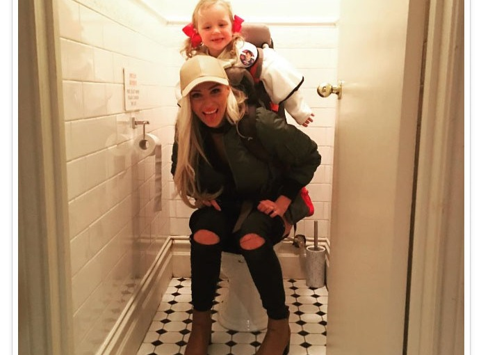 Mom Pees with #Toddler strapped to her back #MommyProblems