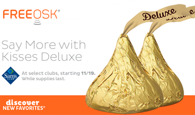 Guess what! You can score #FREE #Hershey #Kisses Deluxe at Sam's Club totally free! @sample #candy