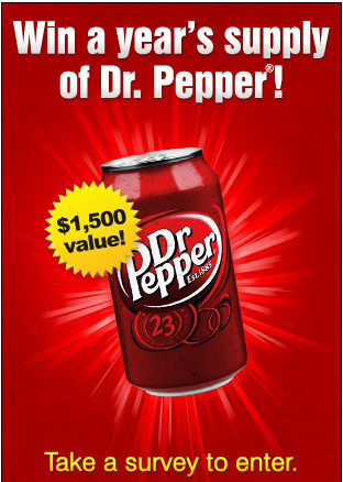 Win Dr. Pepper for a Whole Year!#Sweepstakes