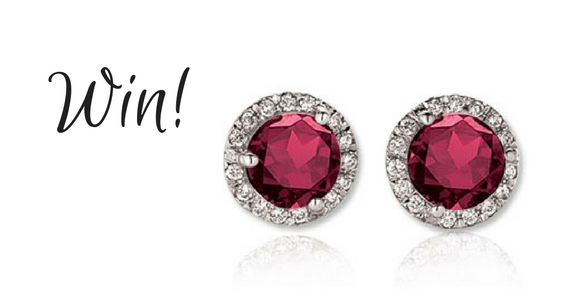 Enter to Win a Pair of Ruby and Diamond Earrings for Christmas#Sweepstakes