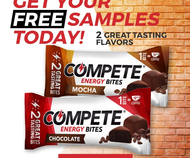 2 Great samples totally #free Compete Energy Bites! One bite equals one cup of #coffee