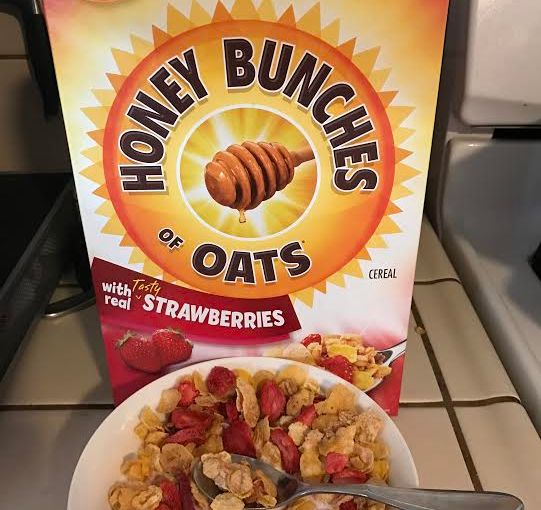 I got a full size #sample of Honey Bunches Of Oats Strawberry in the mail. Yes, a full size box of cereal.