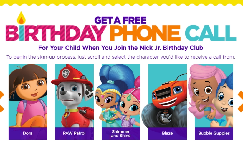 Get a #free Birthday phone call for your child – Nick Jr. Birthday Club