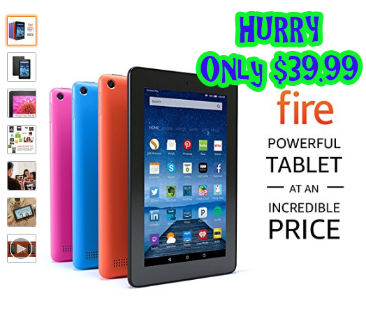 *HURRY* ONLY $39.99 Fire Tablet, 7 in Display, Wi-Fi – Includes Special Offers