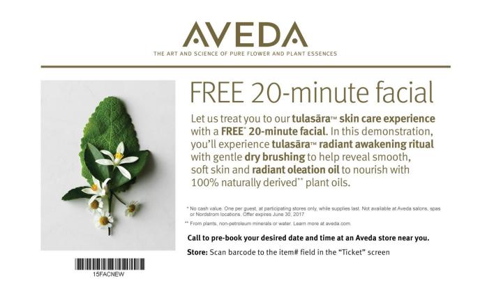 Free AVEDA 20 MinFacial