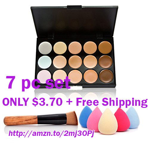 *OMG* (75 % Off) $3.70 + FREE shipping Women Professional 15 Color Makeup Cosmetic Contour Concealer Palette Make Up+Sponge+Concealer Brush