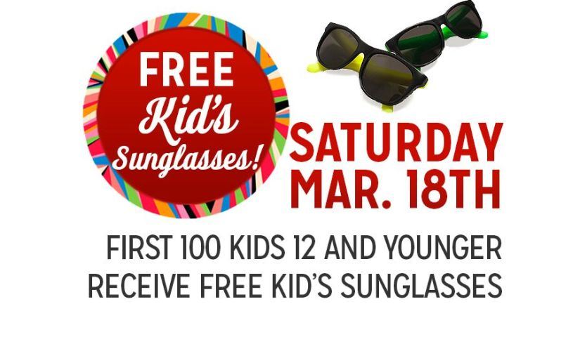 Free Kid's Sunglasses Saturday March 18th at Kmart
