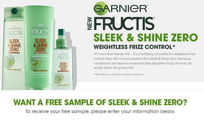 Request a Free Sample Of Garnier New Fructis Sleek & Shine Zero