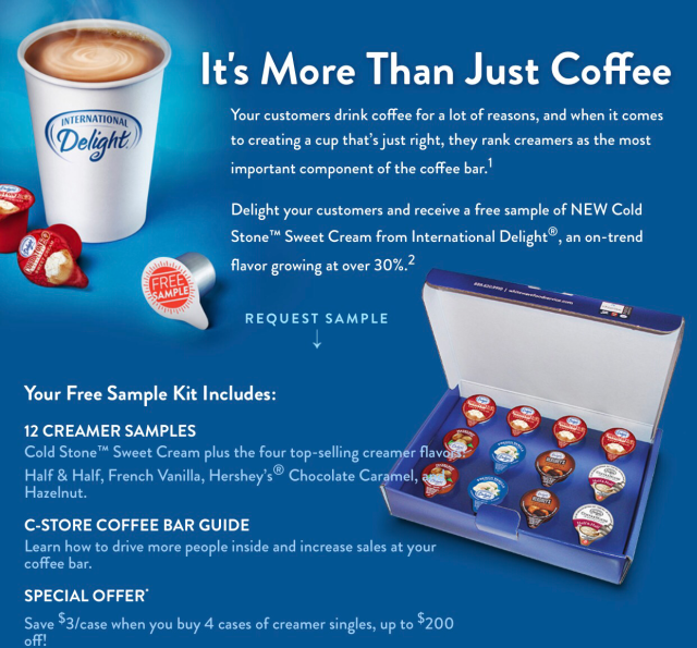 Free coffee cream sample