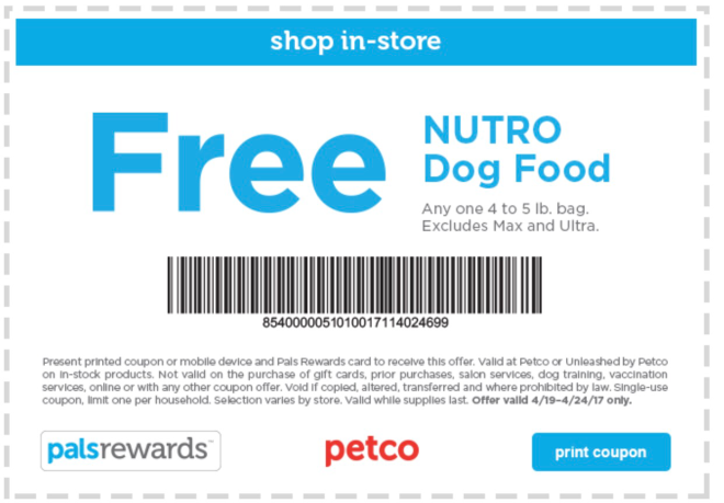 Free bag of dog food