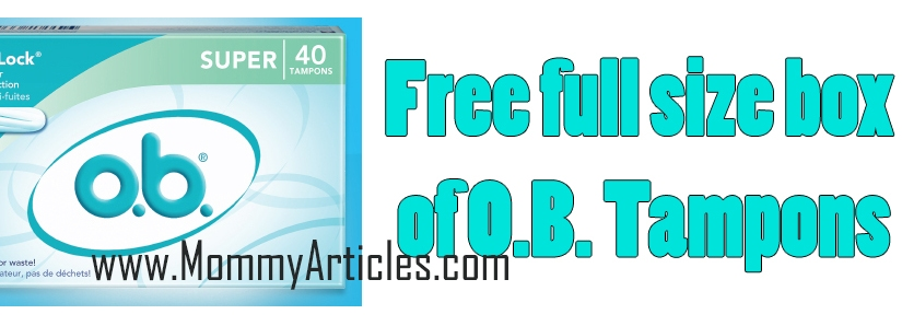 Free full size box of O.B. Tampons 40 count size
