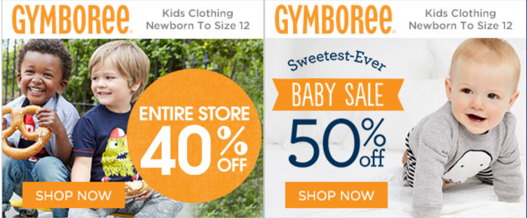 Gymboree is offering 40% Off Entire Purchase & 50% Off for the Sweetest Ever Baby Sale!