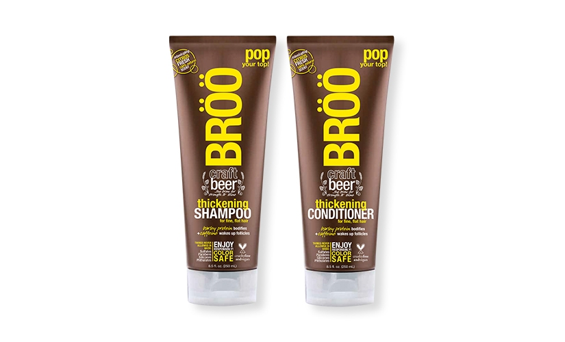 Apply to sample BRÖÖ Craft Beer Thickening Shampoo & Conditioner